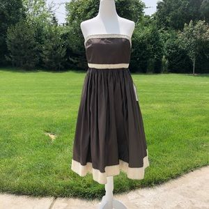 New J. Crew brown silk strapless occasion dress.